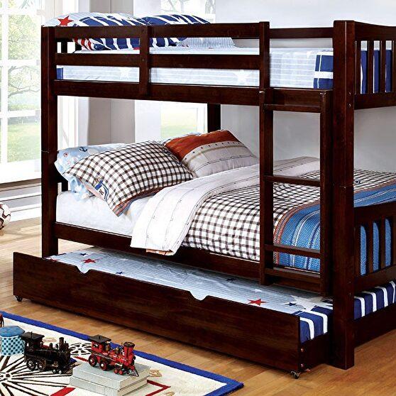 Full/full bunk bed in dark walnut finish