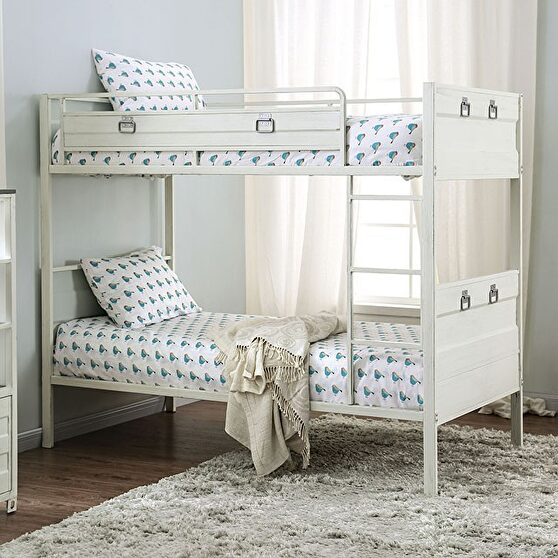 White full metal constructed twin/twin bunk bed