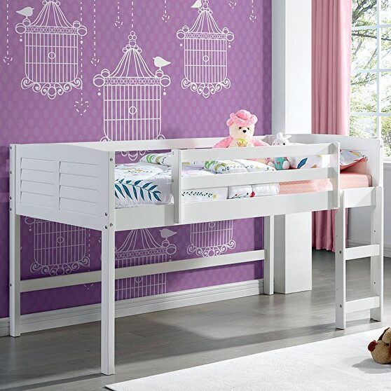 White sturdy construction twin loft bed