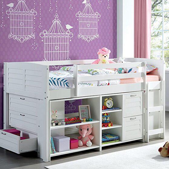 White sturdy construction twin loft bed set