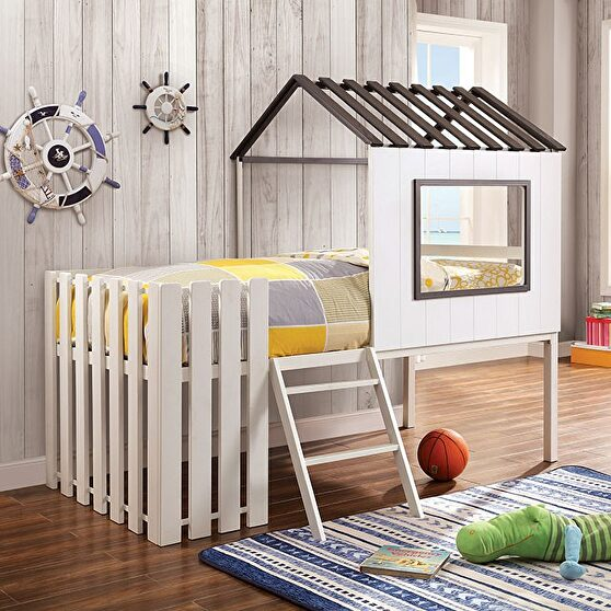 House design twin bunk kids bed in white/ gray finish