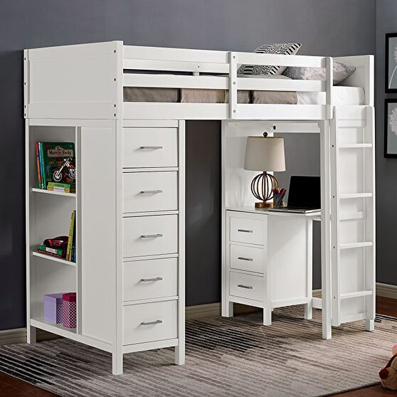 White wood construction twin loft bed