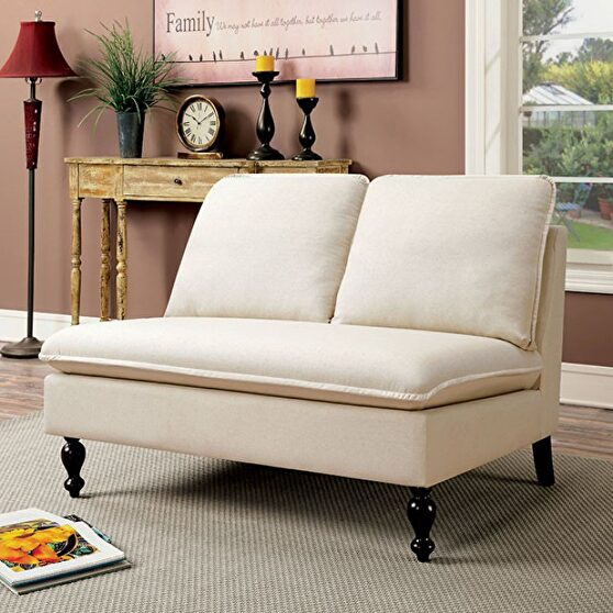 Ivory fabric upholstery contemporary bench
