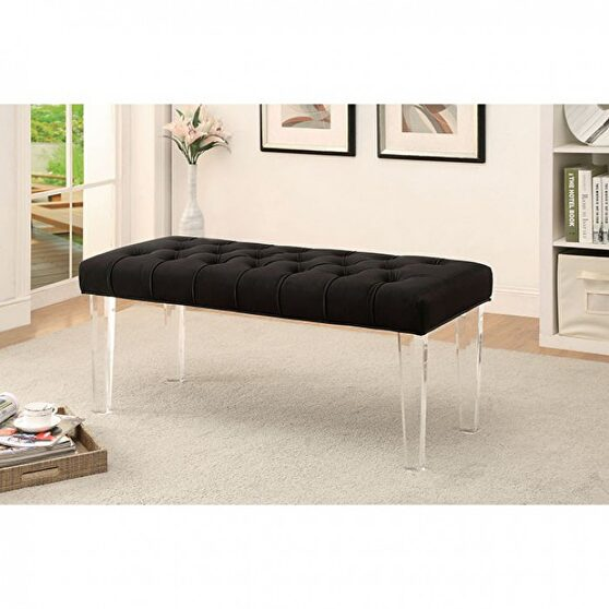 Black padded flannelette contemporary bench