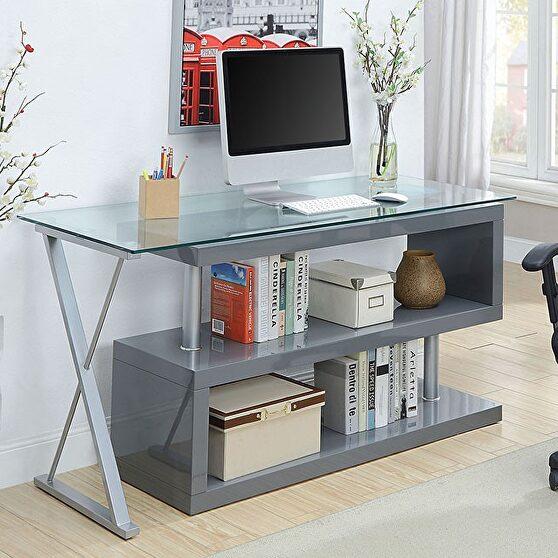 Gray/ 10mm tempered glass contemporary desk