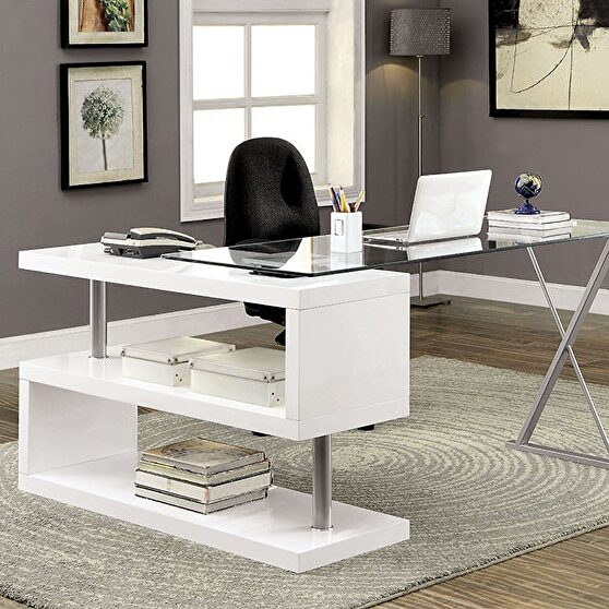 White high gloss finish contemporary desk