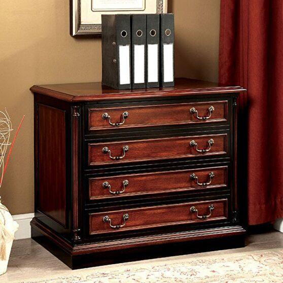 Cherry & black finish transitional file cabinet