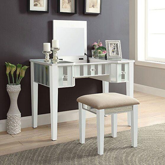 White finish transitional vanity w/ stool