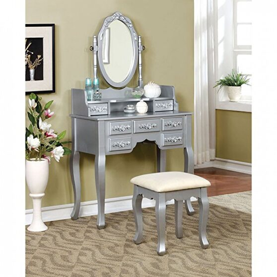 Silver finish floral accents vanity w/ stool