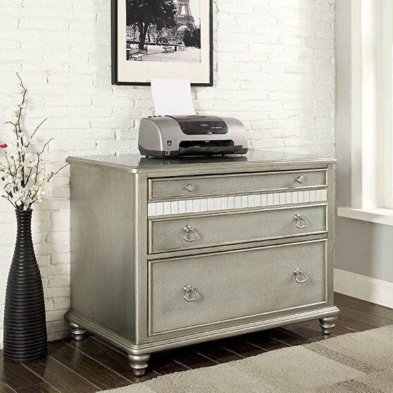 Silver finish contemporary file cabinet