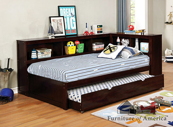 Corner design transitional daybed in brown finish