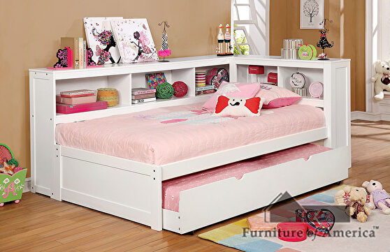Corner design transitional daybed in white finish