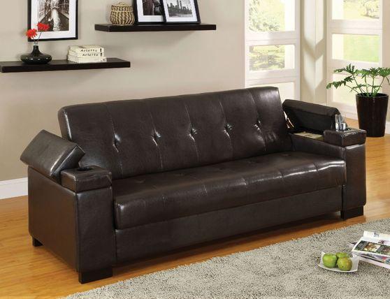 Dark espresso sofa bed w/ cup holders