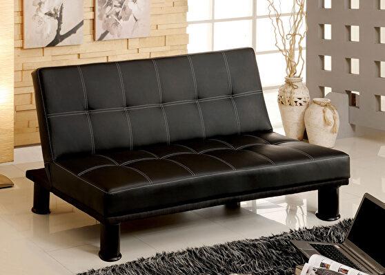 Black contemporary leatherette futon sofa