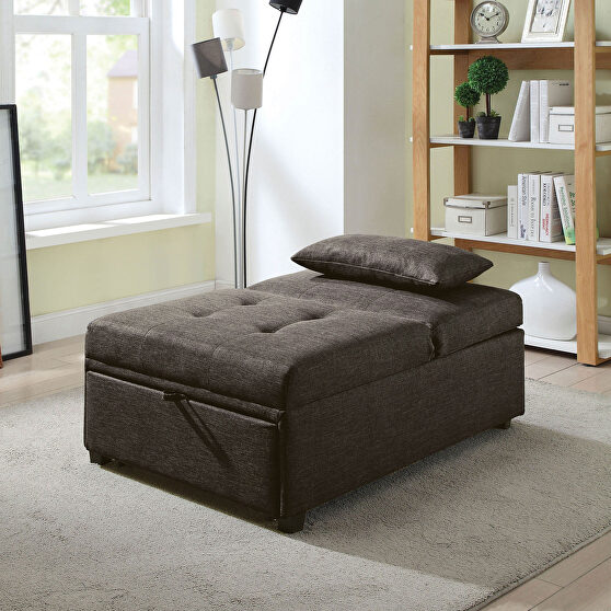 Dark gray transitional futon sofa