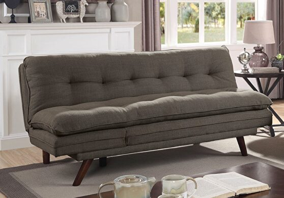 Black/light oak transitional futon sofa