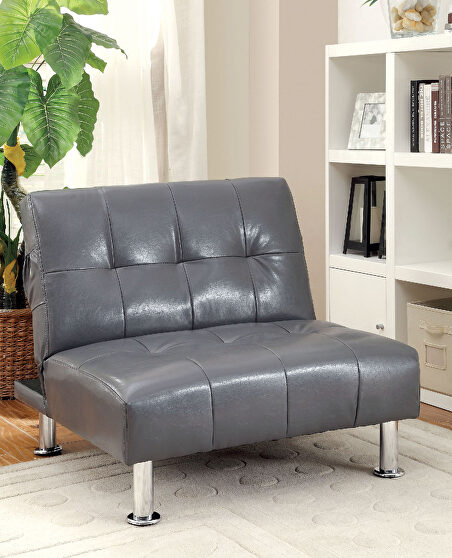 Gray/chrome contemporary chair w/ side pockets on both sides