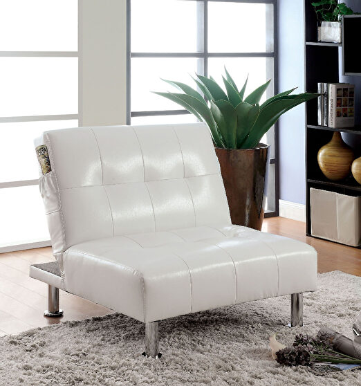 White/chrome contemporary chair w/ side pockets on both sides