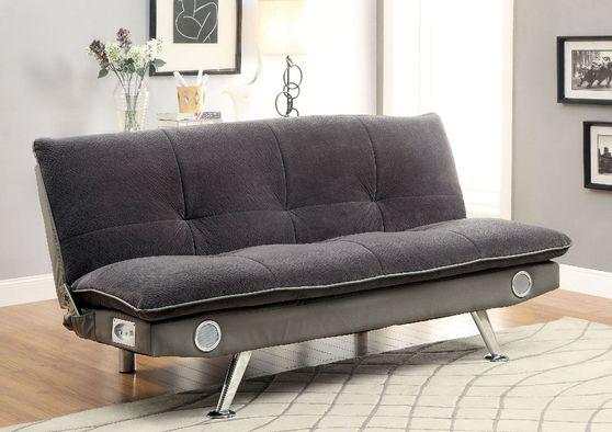 Gray/Chrome Contemporary Futon Sofa, Gray