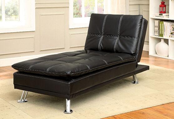 Black/chrome contemporary chaise