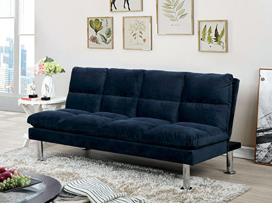 Navy contemporary futon sofa