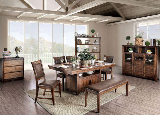 Light walnut rustic dining table