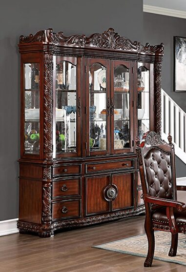 Beautiful twisted rope carvings hutch & buffet in brown cherry finish