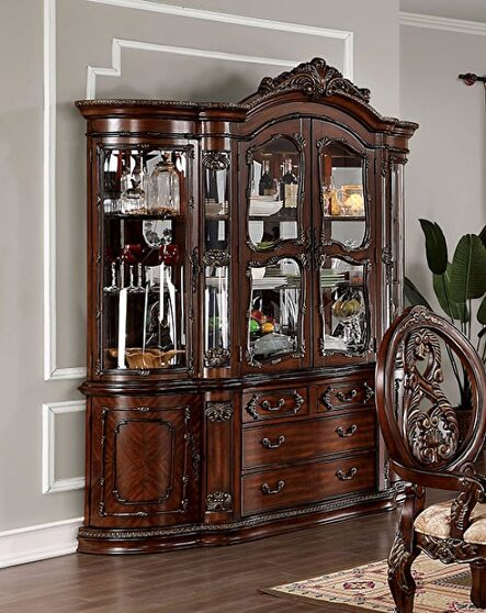 Faux wood carved details hutch & buffet in brown cherry finish