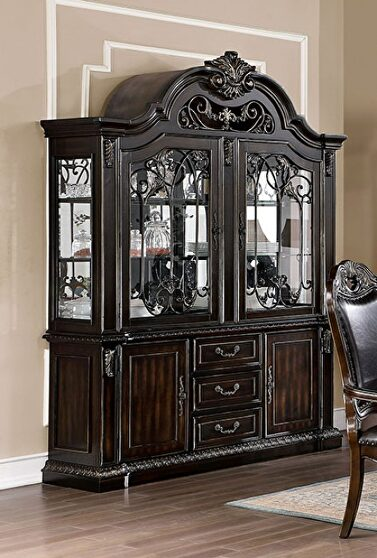 Faux wood carved details hutch & buffet in walnut finish