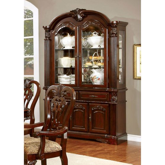 Traditional brown cherry wood buffet + hutch