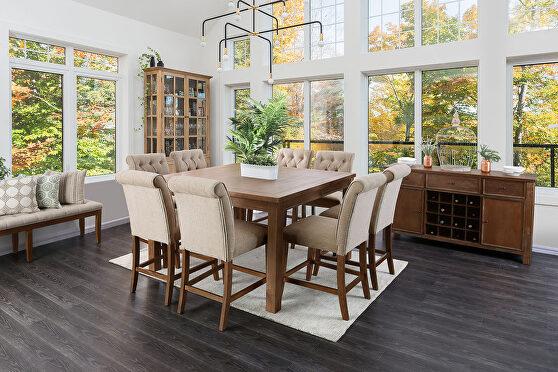 Rustic oak wood grain counter ht. table