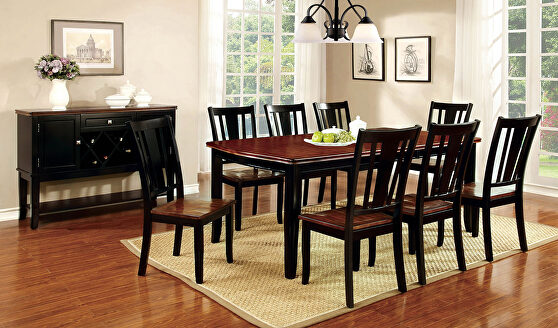 Black/ cherry transitional dining table w/ leaf