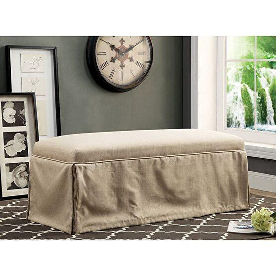 Beige linen-like fabric transitional bench