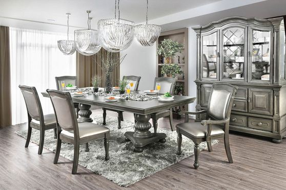 Gray finish double pedestial dining table