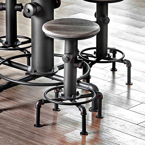 Natural tone/ antique black swivel round counter ht. chair