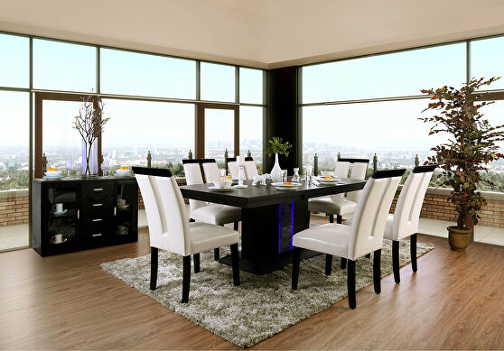 Black/beige transitional dining table