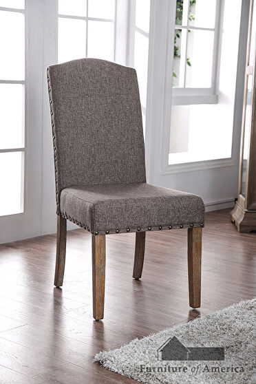Natural/ brown upholstered seat dining chair
