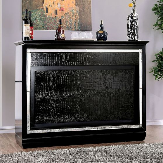 Black Alena Contemporary Bar Table w/ LED Touch Light & Mirror