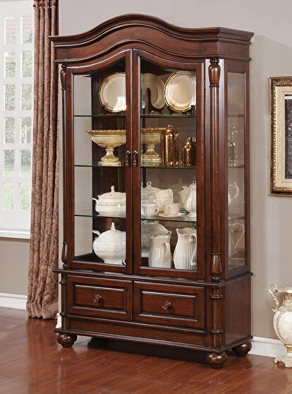 Brown cherry traditional hutch & buffet