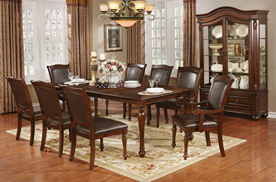 Brown cherry traditional dining table