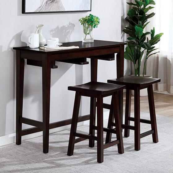 Espresso sturdy wood construction bar table set