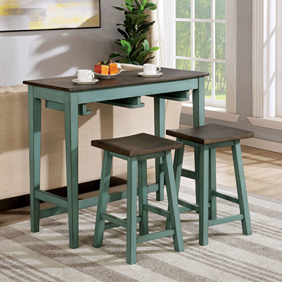 Antique teal/ gray sturdy wood construction bar table set