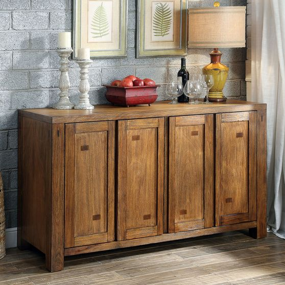 Dark oak rustic natural wood server / buffet