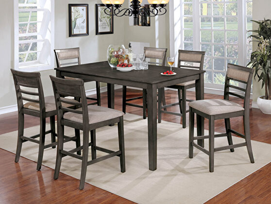 Weathered gray/beige transitional 7 pc. counter ht. table set