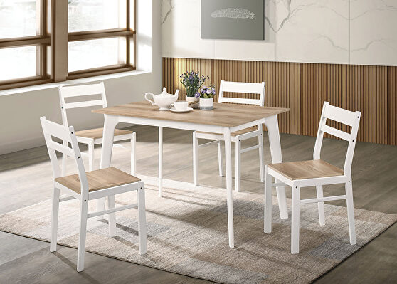 Natural wood grain seat and table top 5 pc. dining table set