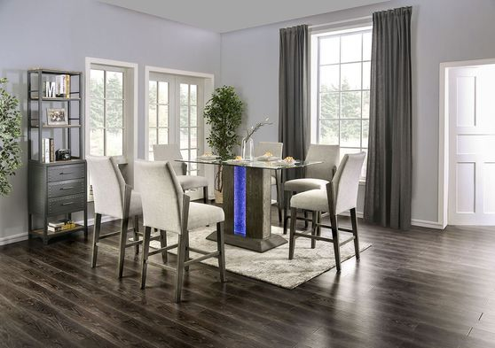 Gray base / tempered glass top counter height dining w/ LED