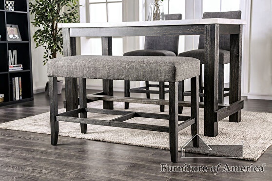 Gray rustic counter ht. bench