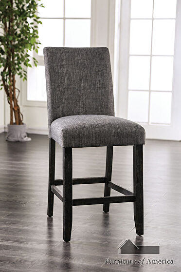 Gray finish padded fabric seat counter ht. chair