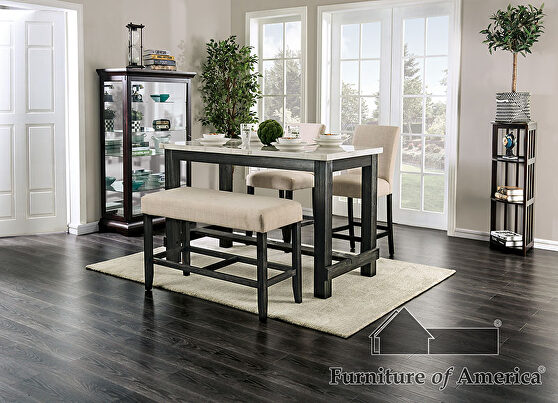 White/antique black rustic counter ht. table