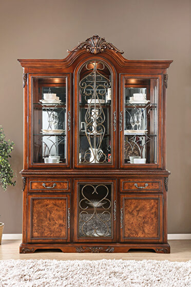 Traditional brown cherry formal hutch & buffet